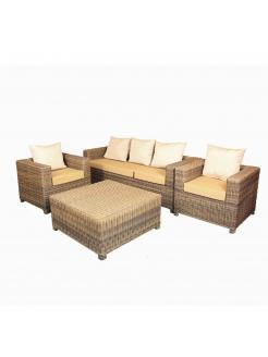 Synthetic Rattan Sofa Set-Brown