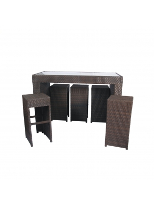 Synthetic Rattan  Bar Chair-Brown