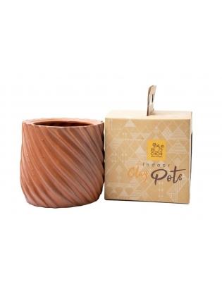 Indoor Terracotta pot medium - lines