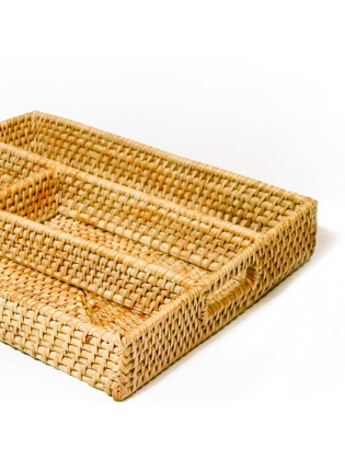Divided Wicker Tray - Rectangular Shaped