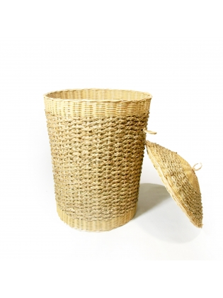 Wicker Hamper For Laundry - Cylindrical